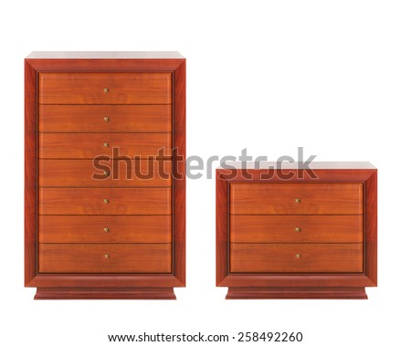 Wooden dressers isolated - stock photo