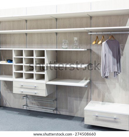Wooden dressing room - stock photo