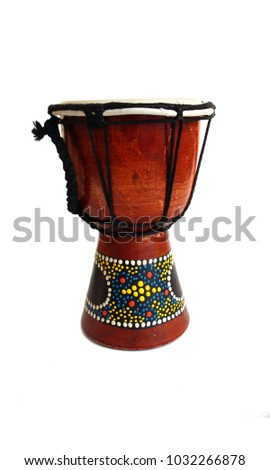 wooden drum instrument, tambourine, on isolated white background