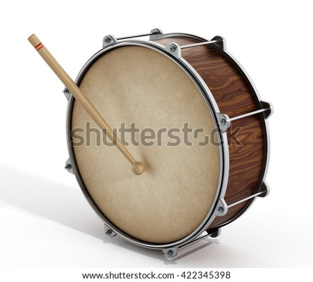 Wooden drum with stick isolated on white background. 3D illustration.