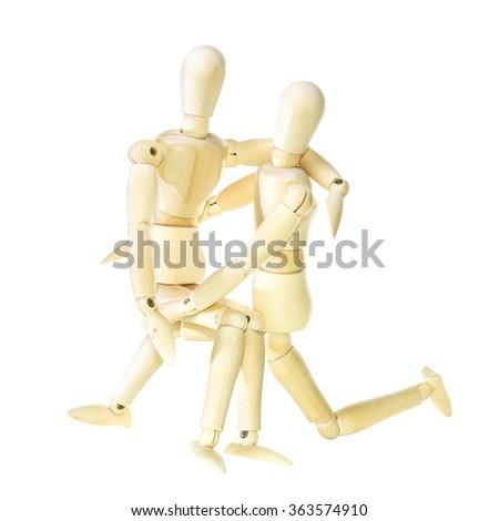 Wooden dummy - family (isolated on white background) - stock photo