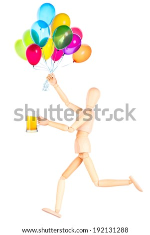 wooden Dummy with beer and balloons Isolated Over White Background - stock photo