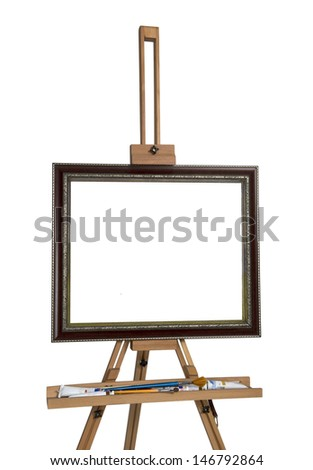 Wooden easel for an artist with a clean  canvas - stock photo