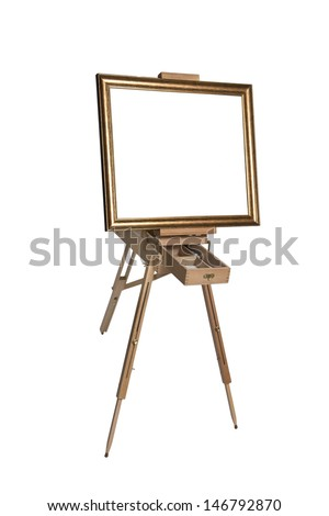 Wooden easel for an artist with a clean  canvas