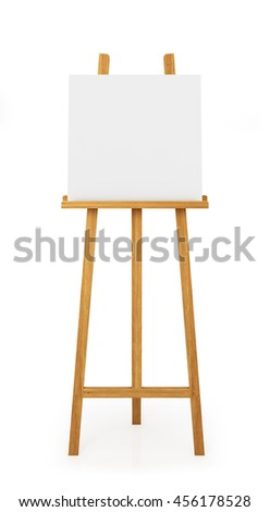 wooden easel for painting, isolated on white background.3d illustration