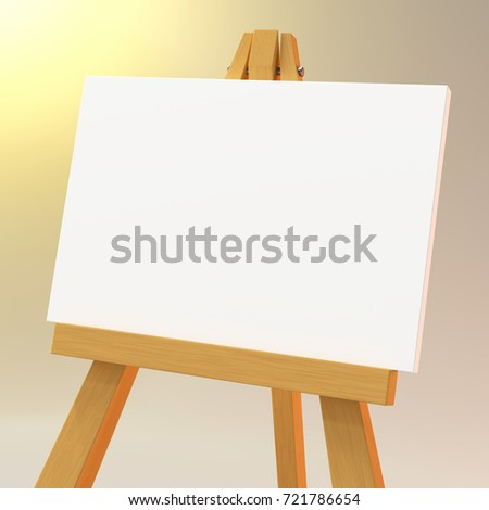 Wooden easel with a white canvas. 3d illustration