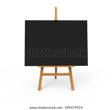 Wooden easel with Big Black Canvas, Ready for your advertising and presentations. 3D illustration