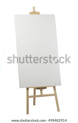 Wooden easel with blank canvas on white background