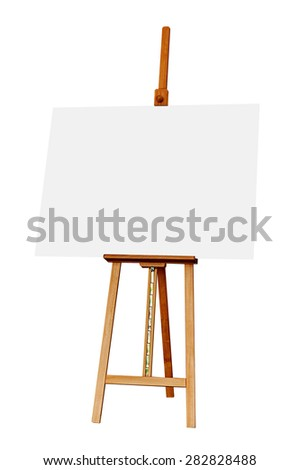 Wooden Easel with Blank Painting Canvas as Copy Space for Mock Up Isolated on White Background - stock photo