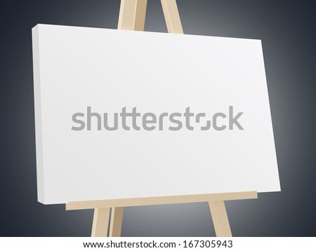 Wooden easel with blank white canvas on dark background.