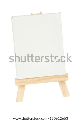wooden easel with empty white canvas isolated on white background