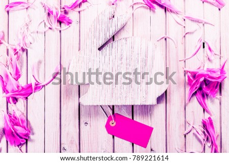 Gift tag stock images royalty free images vectors shutterstock wooden easter rabbit with sale tag and rose flowers on wooden background template with copy negle Image collections