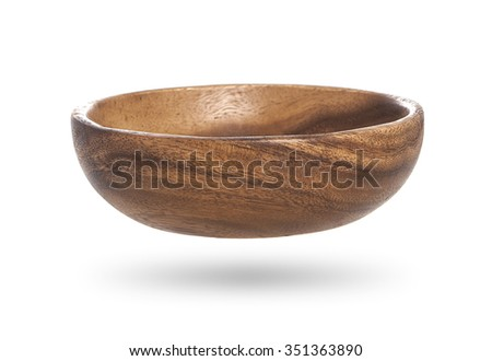 wooden empty bowl isolated on white - stock photo