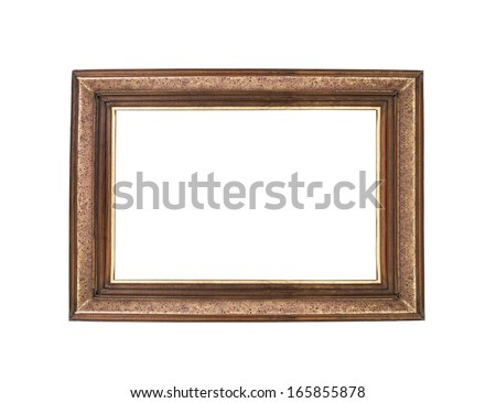 Wooden empty frames isolated on white background - stock photo
