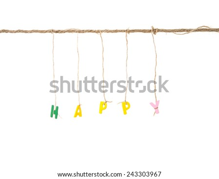 wooden english alphabet happy word binded by rope