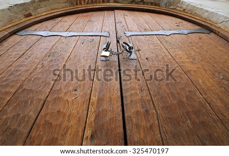 Wooden entrance door of Fagaras fortress