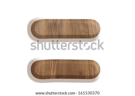 Wooden Equal sign on white background - stock photo