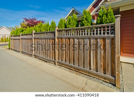 Wooden fence. - stock photo
