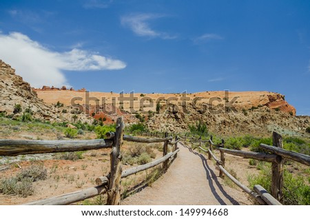 Wooden Fence along a Path at Arches National Park, Utah - stock photo
