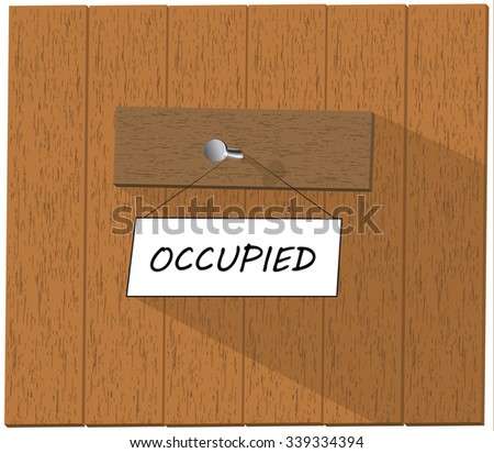 Wooden fence and a sign saying Occupied,  isolated over white background illustration - stock photo