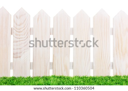 wooden fence and green grass isolated on white - stock photo