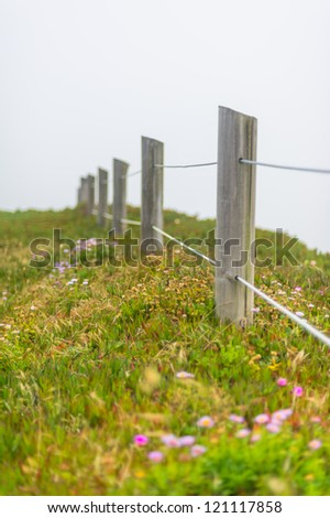 Wooden fence and meadow in the fog - stock photo