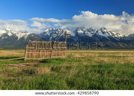 Wooden fence and the Grand Teton, Wyoming, USA. - stock photo