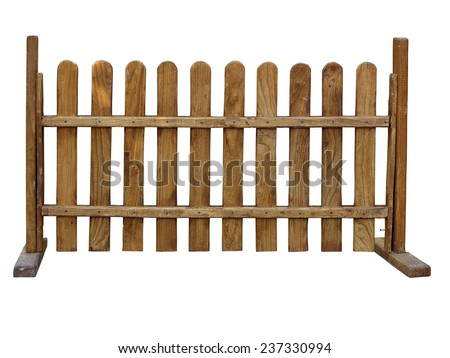 Wooden fence at ranch isolated over white background - stock photo