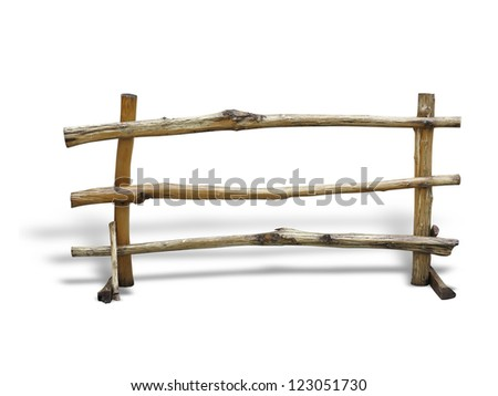 Wooden fence at ranch with shadow over white background - stock photo