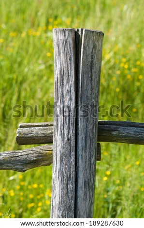 Wooden fence in a rural area