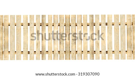 Wooden fence isolated on a white background.