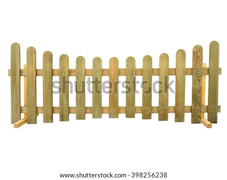 Wooden fence isolated over the white background - stock photo