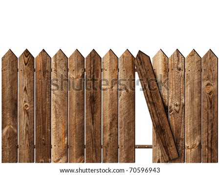 wooden fence over the white backgroynd - stock photo