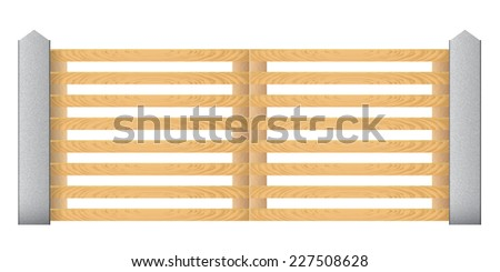 Wooden fence with concrete columns on a white background. Gates. Raster copy - stock photo