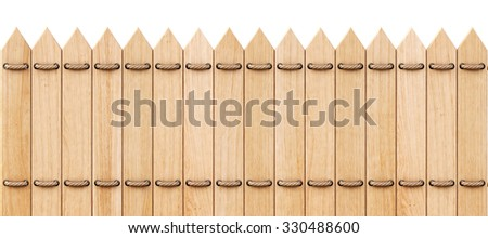 wooden fence with ropes. isolated on white background. - stock photo