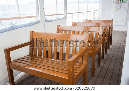 Wooden ferry Chairs - stock photo