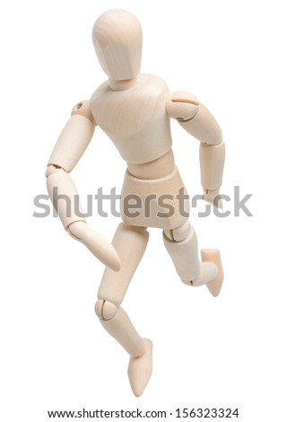 wooden figure dummy mannequin running isolated on white background