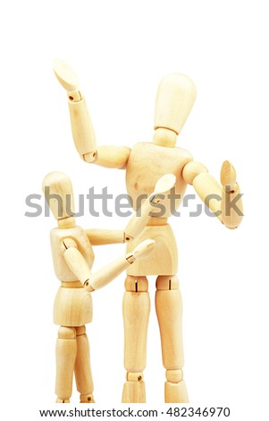 Wooden figure,isolated on white .Learning.