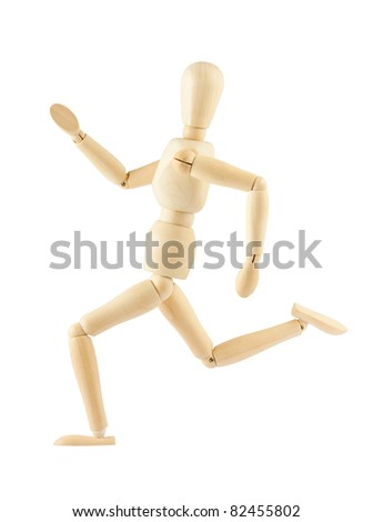 wooden figure mannequin running isolated on white background