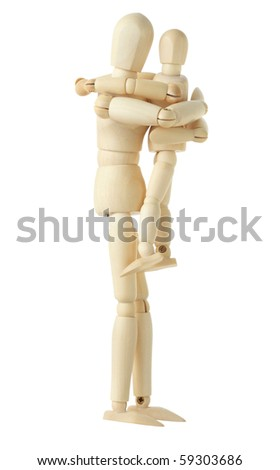 wooden figure of parent holding and embracing his child, side view, full body, isolated on white