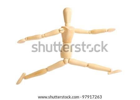 Wooden figure on white background (isolated)