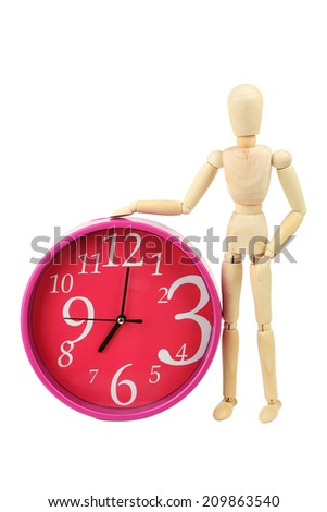 Wooden figure with red watch isolated on white - stock photo
