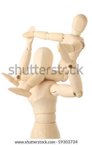 wooden figures of child sitting on neck of his parent and holding for hands, half body, side view, isolated on white