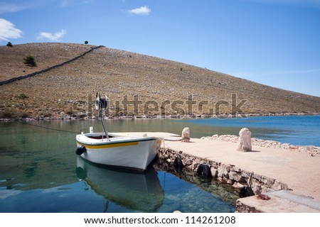 Wooden fishing boat in Adriatic sea, Croatia - stock photo