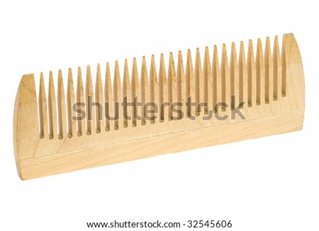 Wooden flat hairbrush on a white background - stock photo
