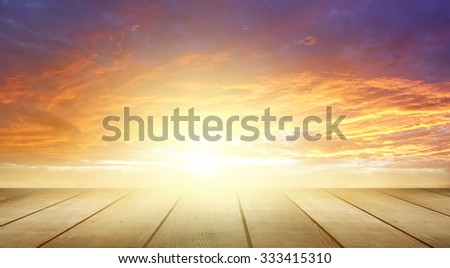 Wooden floor and bright sky  - stock photo
