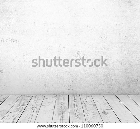 wooden floor and concrete white wall textured - stock photo