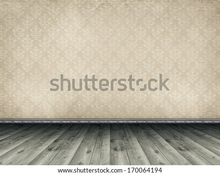 Wooden floor and vintage patterned wallpaper - stock photo