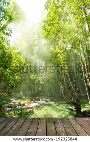 Wooden floor and waterfall in rainforest, Emerald Pool - Krabi - Thailand - stock photo