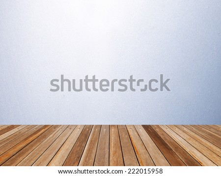 wooden floor and white cement wall interior room for background - stock photo
